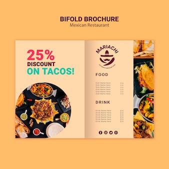 Brochure à deux volets du restaurant de plats traditionnels mexicains