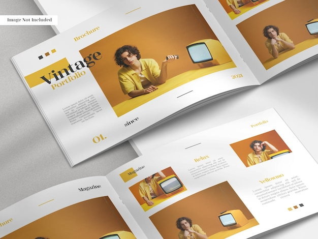 Brochure en gros plan à deux volets ouverte moderne réaliste et minimaliste ou maquette de magazine