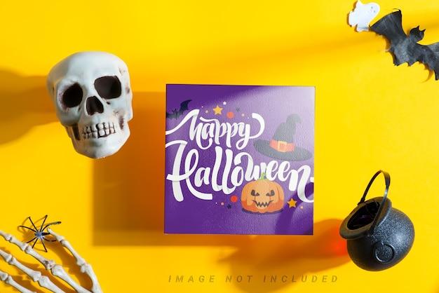 Brochure de maquette d'halloween avec décoration.