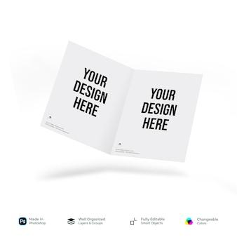 Brochure de page de couverture de maquette pliée ou demi-pliée