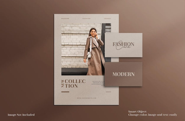 Brochure de papeterie minimaliste moderne et élégante, dépliant et maquette de carte de visite avec modèle de mise en page