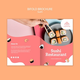 Brochure pliante de restaurant de sushi