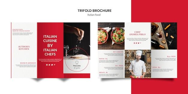 Brochure à trois volets de la cuisine italienne