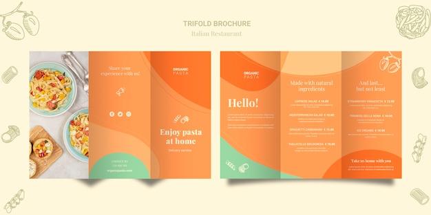 Brochure à trois volets du restaurant italien