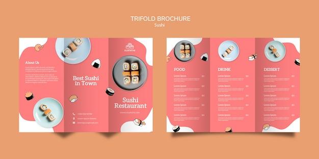 Brochure à trois volets du restaurant sushi