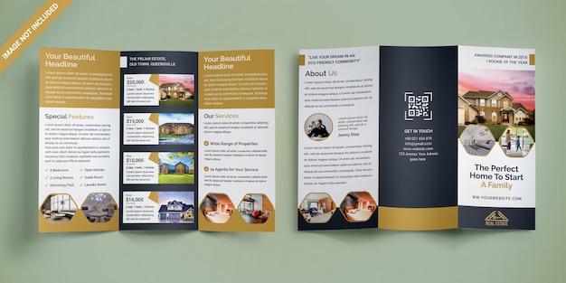 Brochure à trois volets sur l'immobilier