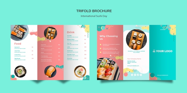Brochure à trois volets de la journée internationale du sushi