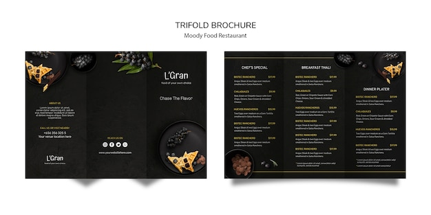 Brochure à trois volets moody food