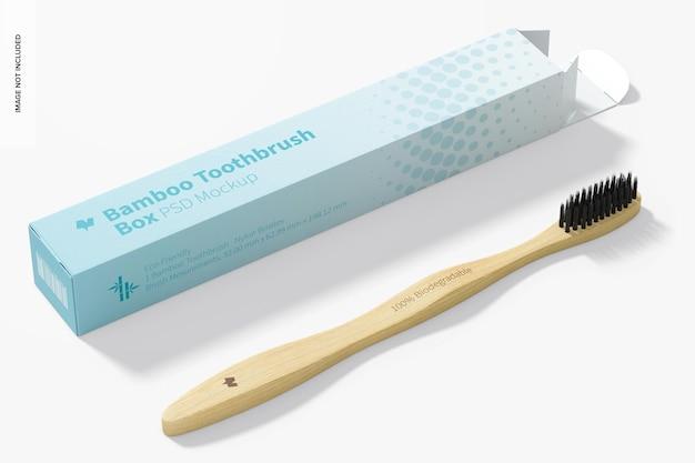 Brosse à dents en bambou avec maquette de boîte