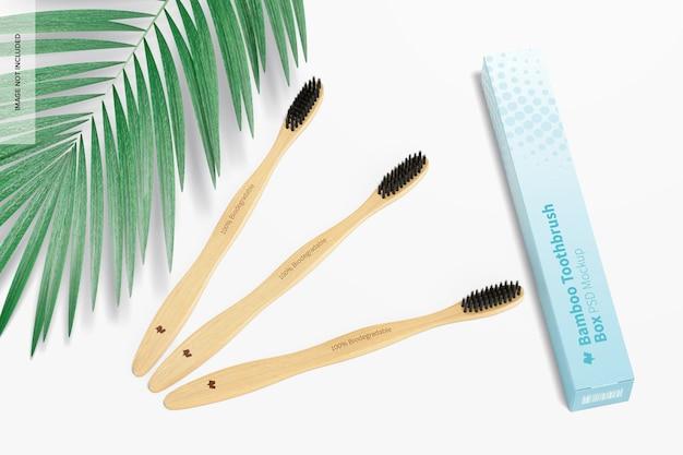 Brosses à dents en bambou avec maquette de boîte
