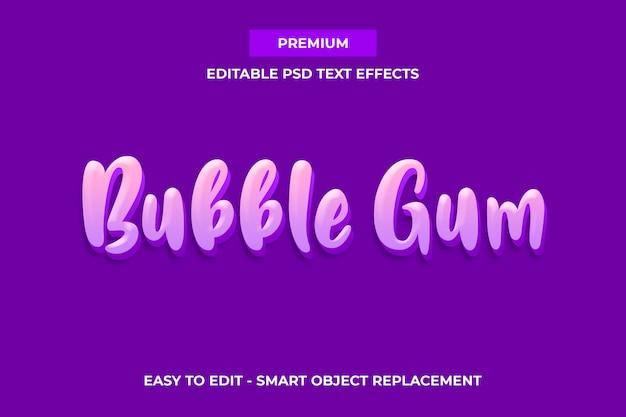 Bubble gum - modèle d'effets de texte sweet color premium