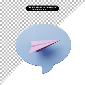 Bulle de chat illustration 3d avec des avions en papier