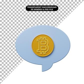 Bulle de chat illustration 3d avec bitcoin