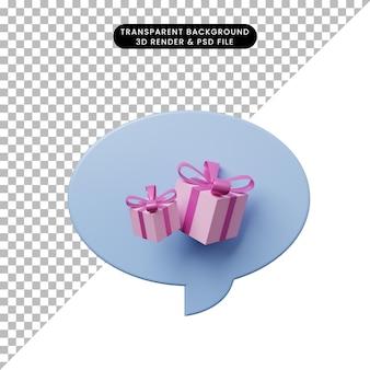 Bulle de chat illustration 3d avec boîte-cadeau