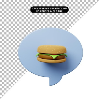 Bulle de chat illustration 3d avec burger