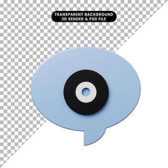 Bulle de chat illustration 3d avec disque