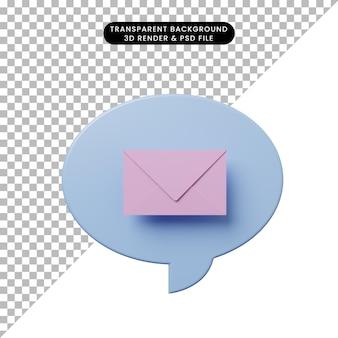 Bulle de chat illustration 3d avec enveloppe
