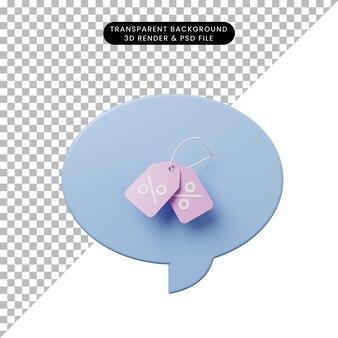 Bulle de chat illustration 3d avec étiquette de remise