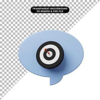 Bulle de chat illustration 3d avec flèche sur la fléchette cible