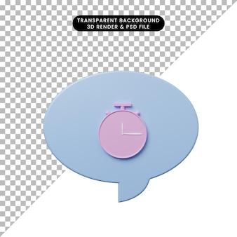 Bulle de chat illustration 3d avec horloge