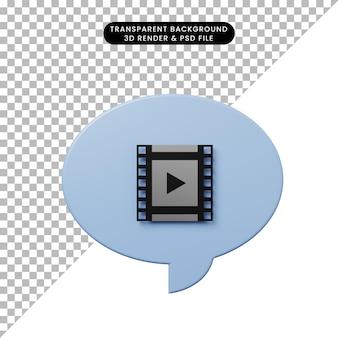 Bulle de chat illustration 3d avec icône de film