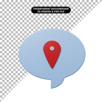 Bulle de chat illustration 3d avec icône de localisation