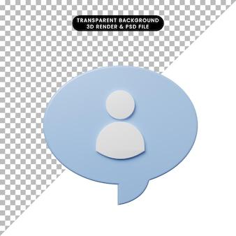 Bulle de chat illustration 3d avec l'icône de personnes