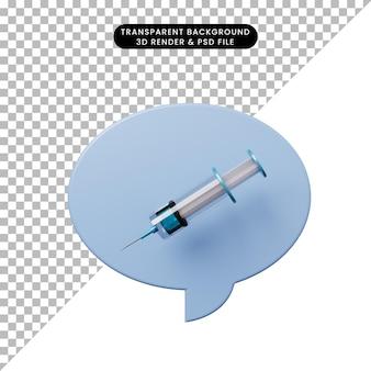 Bulle de chat illustration 3d avec injection
