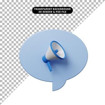 Bulle de chat illustration 3d avec mégaphone