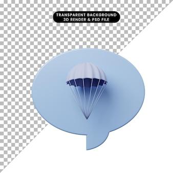Bulle de chat illustration 3d avec parachute