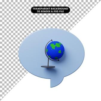 Bulle de chat d'illustration 3d avec la terre de globe