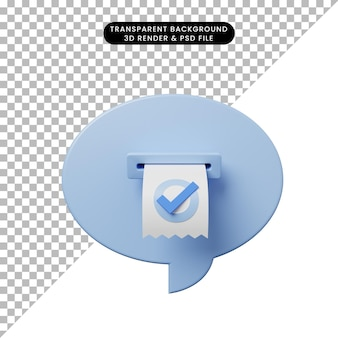 Bulle de discussion d'illustration 3d avec liste de contrôle de facture