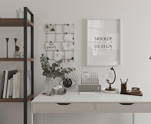 Bureau blanc avec affiche de maquette rendu 3d encadré