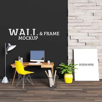 Bureau avec chaise jaune et cadre photo