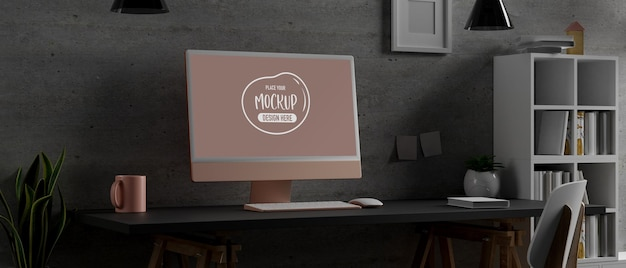 Bureau à domicile de rendu 3d avec maquette d'ordinateur