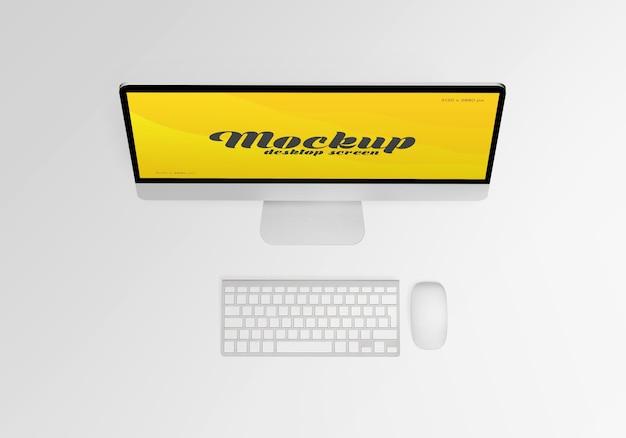Bureau de maquette d'écran d'ordinateur isolé