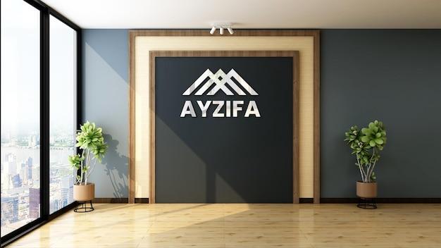 Bureau avec maquette de logo mural au design moderne