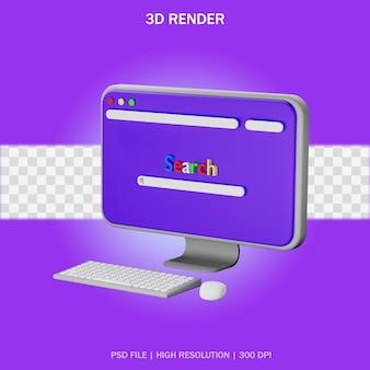 Bureau d'ordinateur avec fond transparent en conception 3d