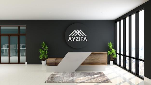 Bureau de réceptionniste maquette logo avec table en bois