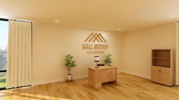 Bureau rustique élégant avec maquette de mur 3d de logo d'entreprise