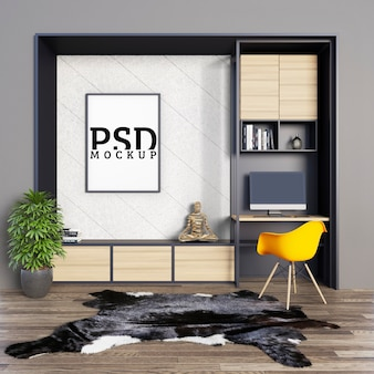Bureaux avec étagères décoratives et cadre photo