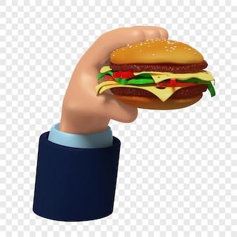 Burger 3d à la main illustration 3d isolé