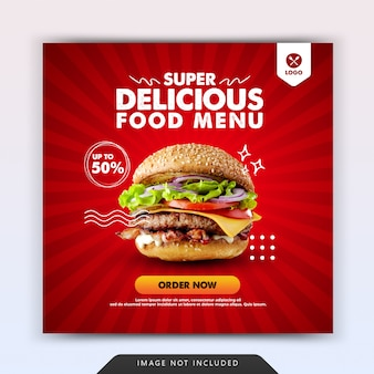 Burger fast food pour instagram modèle de promotion de publication sur les médias sociaux