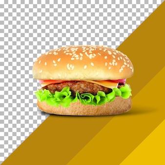 Burger frais et savoureux isolé sur fond transparent.