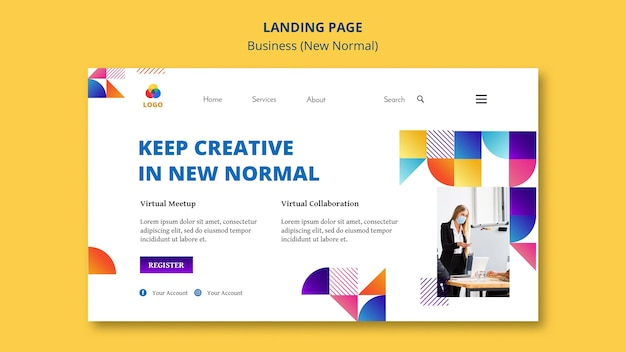 Business nouveau concept de page de destination normale