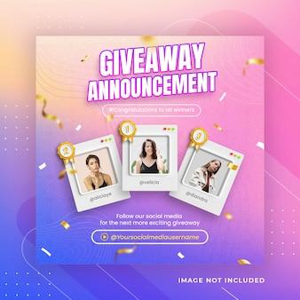 Cadeau créatif annonce du gagnant modèle instagram de publication sur les réseaux sociaux psd premium