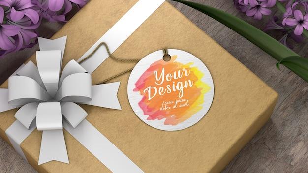 Cadeau d'étiquette de maquette avec forme de cercle de papier blanc