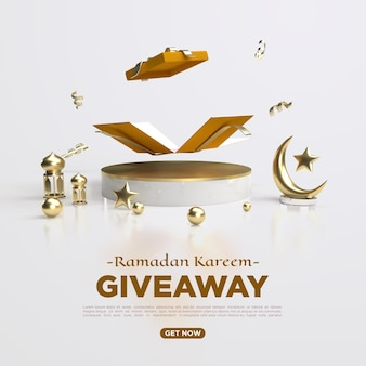 Cadeau de rendu 3d du ramadan kareem pour les médias sociaux
