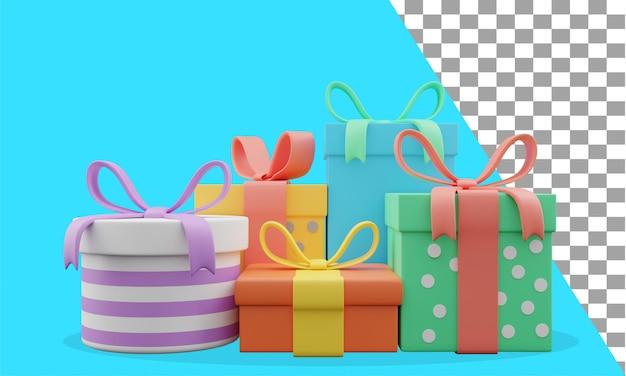 Cadeaux d'anniversaire d'illustration 3d assortis psd