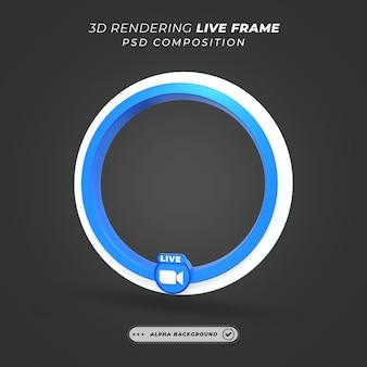 Cadre 3d de profil de cercle pour la diffusion en direct sur les médias sociaux